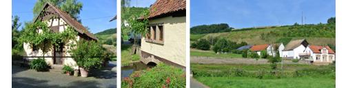 Von li nach re: Die Probierstube in der alten Mühle liegt direkt über dem Mühl-Bach. Blick auf den Cöllner Rosenberg, wo der Gemischte Satz aus Riesling und Rotem Traminer angebaut wird.