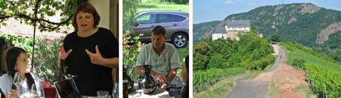 Von li nach re: vinocentral-Mitarbeiterin Yook mit dem Winzerehepaar Martina und Peter Linxweiler auf der Terrasse des Weinguts. Gesucht – gefunden! Die Parzelle der Linxweilers am Ebernburger Schlossberg.