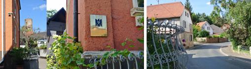 Links: Blick vom Hof des Weinguts auf den Namensgeber des Ortes an der unteren Nahe: Burg Layen. Mitte: Der Adler mit Traube weist auf die Mitgliedschaft im Verband VDP. Die Prädikatsweingüter hin.