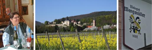 von li nach re: Stefanie Weegmüller-Scherr, Blick auf Neustadt-Haardt, Wappen am Gutshaus (c) J. Böckenhauer (1 + 3), Weegmüller (2)
